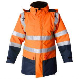 Orange/Navy Hi Vis FR Waterproof Jacket (ETF1908)